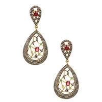 Ruby Diamond Earrings, Dangle and Drop Earrings, Ruby Earrings, Gemstone Earrings, Handmade Gemstone Earrings