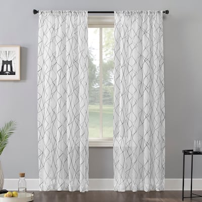 No. 918 Abstract Geometric Embroidery Semi-Sheer Rod Pocket Curtain Panel, Single Panel