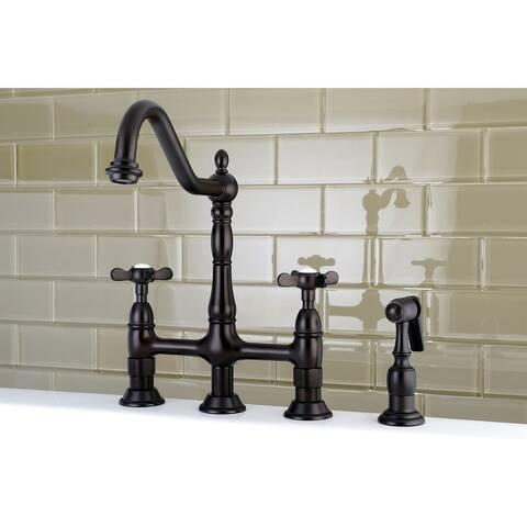 Essex Bridge Kitchen Faucet with Brass Sprayer