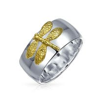Bling Jewelry Sterling Silver Gold Plated Two Tone Dragonfly Ring