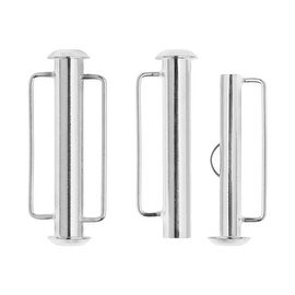 Slide Tube Clasps, with Bar Loops 26.5x10.5mm, 2 Pieces, Silver Plated