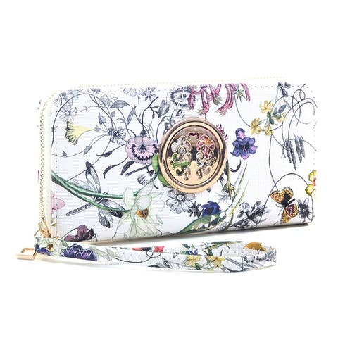 Dasein Womens Fashion Floral Zip Around Emblem Wallet
