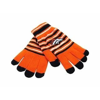 Denver Broncos Stripe Knit Stretch Gloves with Texting Tips - Orange