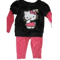 Hello Kitty Baby Girls Black Pink Sparkly Applique Dress 12M-24M