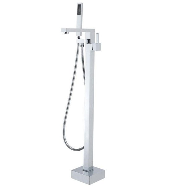 Freestanding Square Chrome Bath Mixer Spout with Handheld Head