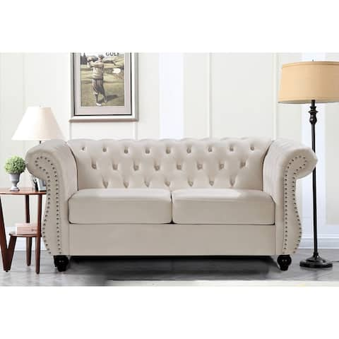 Kemos Velvet Chesterfield Loveseat