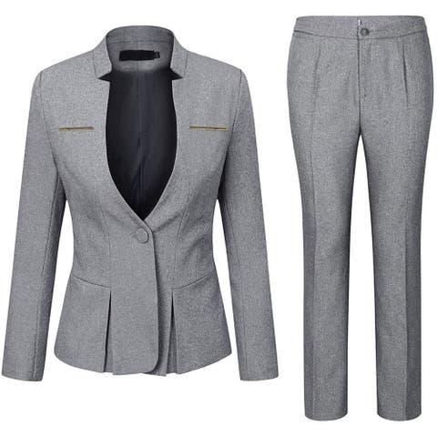 YUNCLOS Women's Pantsuit Gray Size Medium M Single Button Peplum