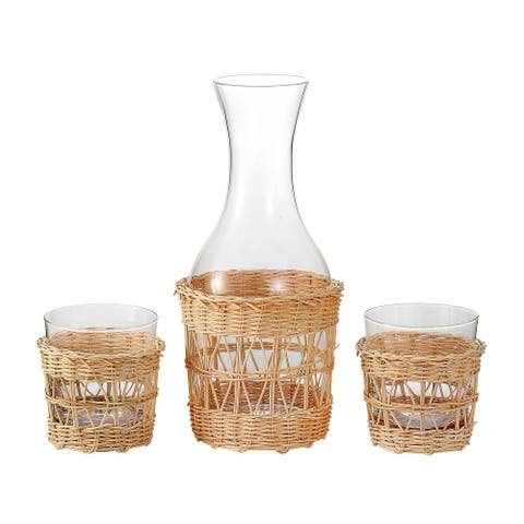 Bedside Night Water Carafe with Removable Hand Woven Rattan