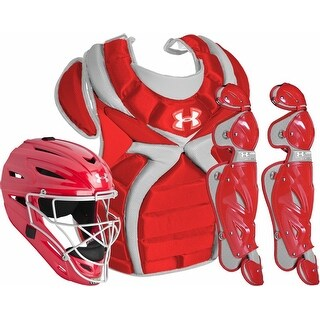 Under Armour Kids' Baselball PTH Victory Catching Kit (Scarlet Red, Medium / Ages 9-12)