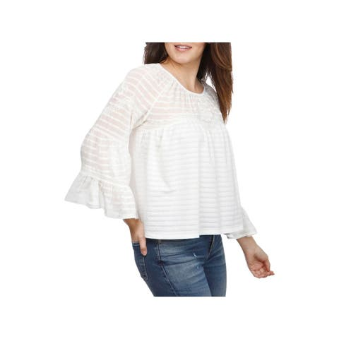 Lucky Brand Womens Blouse Shadow Stripe Bell Sleeves