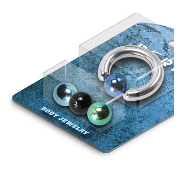 Captive Bead Ring with 3 Interchangable Titanium Anodized Balls - 6GA