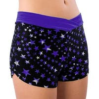 Pizzazz Girls Size 2T-16 Superstar Purple Crossover Shorts Cheer Dance
