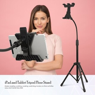 Lusana Studio Adjustable Tablet and iPad Gooseneck Tripod Floor Stand, OS0085