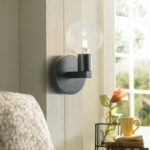 CO-Z 1 light Dimmable Wall Sconce w Transparent Glass Shades