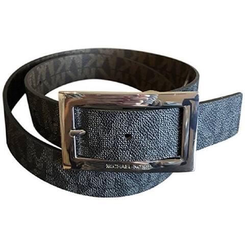 Michael Kors Women's Rectangle Buckle Reversible Black To Brown Logo Belt 551814C