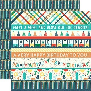 "Happy Birthday Boy Double-Sided Cardstock 12""X12""-Border Strips"