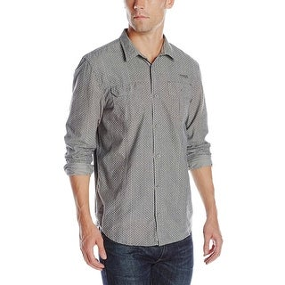 Buffalo By David Bitton Siloka Polka Dot Striped Long Sleeve Shirt Concrete Grey
