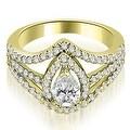 1.65 cttw. 14K Yellow Gold Halo Pear Cut Diamond Engagement Diamond Ring - Thumbnail 0