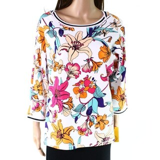 Ruby Rd. Womens Petite Floral Pullover Sweater