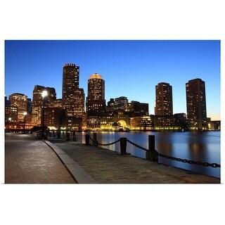 """Skyline at Boston, MA at dusk"" Poster Print"
