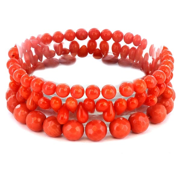 Dyed Orange Coral Beaded and Multi-faceted Bracelets (Set of 3)