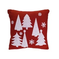 """Set of 2 Red and White Christmas Themed Decorative Square Throw Pillow 15.5"""""""