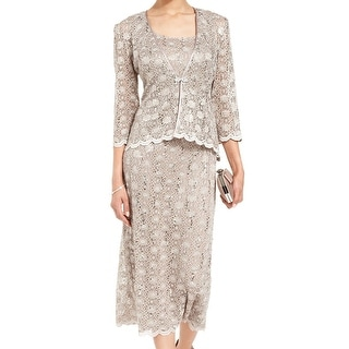 R&M Richards NEW Mocha Beige Women's 10 Sequin Sheath Lace Dress Set