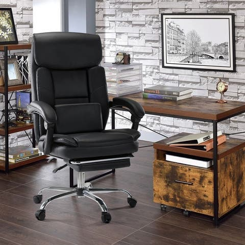 COLAMY Executive Office Chair w/Lumbar Support Footrest