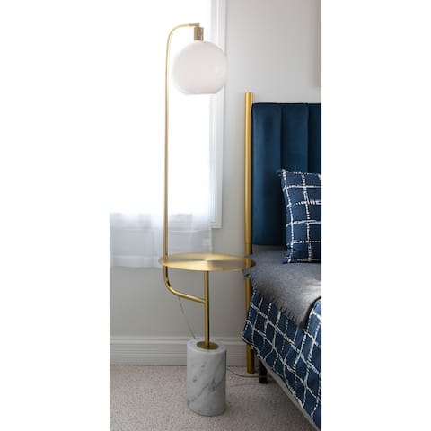 Silver Orchid Symbol Tray Table Floor Lamp in Gold Metal & White Marble
