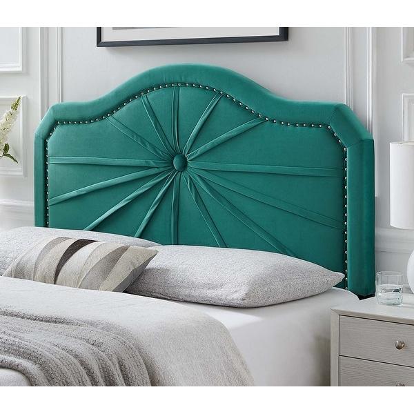 Edmond Green Velvet Upholstered Full/Queen Size Headboard with Nailhead Trim. Opens flyout.