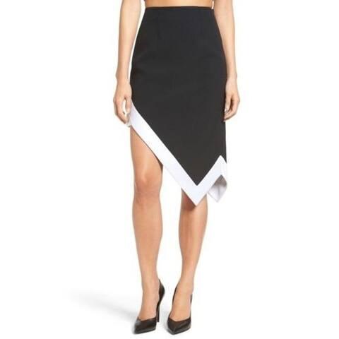 Kendall + Kylie Asymmetrical Skirt, Black/White, S