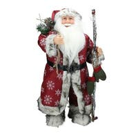 "24.5"" Standing Snowflake Santa Claus Christmas Figure with Mittens and Staff - RED"