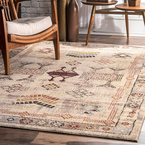 The Curated Nomad Bluxome Beige Rustic Tribal Border Area Rug