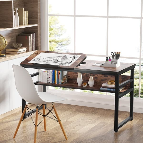 Shop Large Computer Desk With Storage Shelf Drafting Table Craft Drawing Desk Overstock 30387474