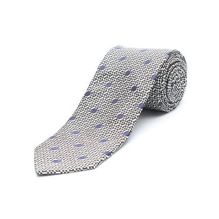 Versace Men's Silk Neck Tie A9109 White&Black Blue dots