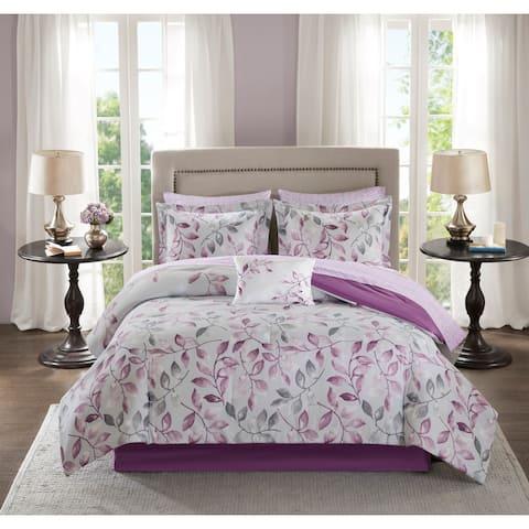 Madison Park Essentials Eden Purple Printed Complete Comforter and Cotton Sheet Set