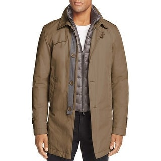Herno Brown Layered Down Fill Bib Trench Coat Small S 48 Made In Italy