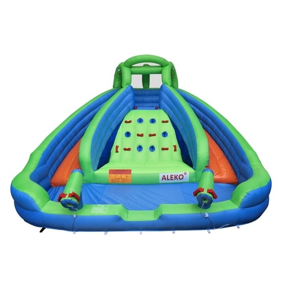 ALEKO Island Water Slide Bounce House with Climbing Wall and Blower - 14 x 13.6 x 8.6 feet. Opens flyout.