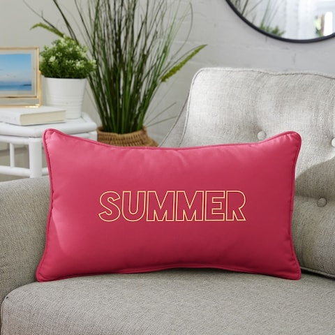 "Summer Indoor/Outdoor Embroidered Lumbar Pillow, Knife Edge - 13"" x 20"""