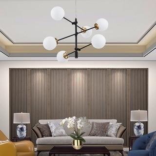 Link to CO-Z 6-Light Black and Antique Brass Modern Sputnik Chandelier Similar Items in Chandeliers