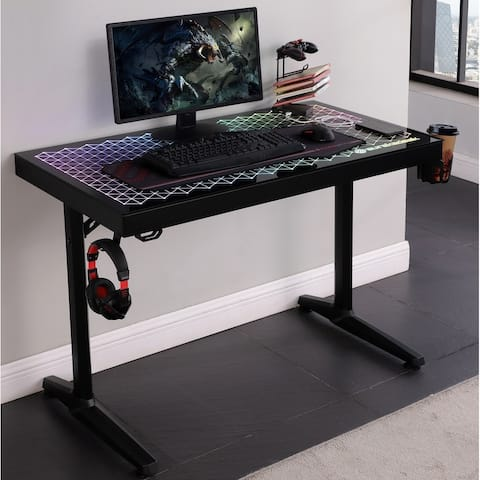 Professional Ergonomic Tempered Glass Top Gaming Desk with LED Lighting