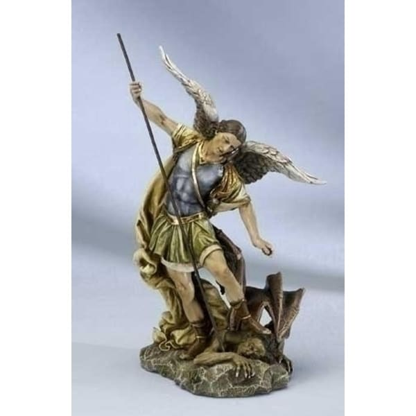 """Set of 2 St. Michael The Archangel Slaying Demon Figures 12"""" - N/A"""