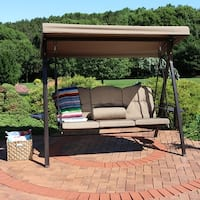 Sunnydaze Steel Frame Outdoor Canopy Swing with Side Tables - Color Options