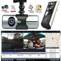 """Indigi® NEW XR300 CarDVR DashCam DualCamera(Front+Rear) Recorder with 2.7"""" Split LCD w/ GPS Tracker & 32gb microSD included - Thumbnail 0"""