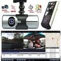 "Indigi® XR300 Car DVR DashCam Dual Cameras (Front+Rear) G-Sensor Driving Recorder with 2.7"" Split LCD w/ GPS Tracker - Black - Thumbnail 0"