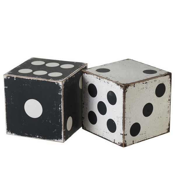 Set of 4 Black and White Rustic Finished Large Dice Tabletop Decor 8""