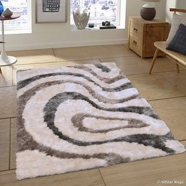 "AllStar Rugs White Geometric Thick Area Rug (4' 11"" x 6' 11"")"