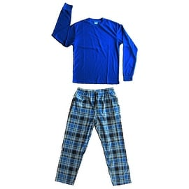 Men's 2 PC Thermal Top & Fleece Lined Pants Pajamas Set (Blue)