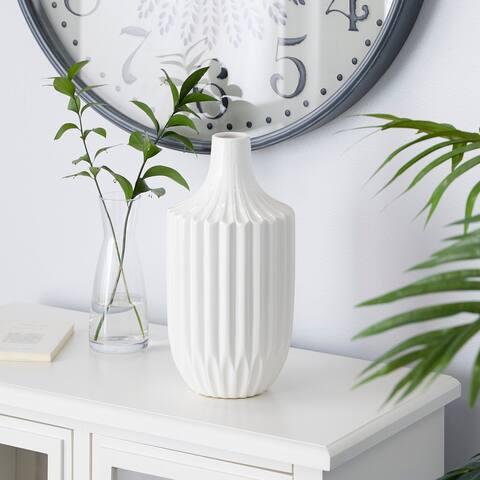 White Ceramic Modern Vase 13 x 6 x 6 - 6 x 6 x 13