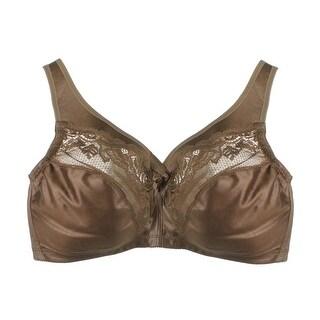 Glamorise Womens Satin Lace Trim Minimizer Bra - 36f